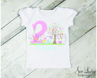Girl Song Birds Personalized Birthday Shirt - Sew Lucky Embroidery