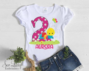 Girls Caterpillar and Friends Personalized Birthday Shirt - Sew Lucky Embroidery