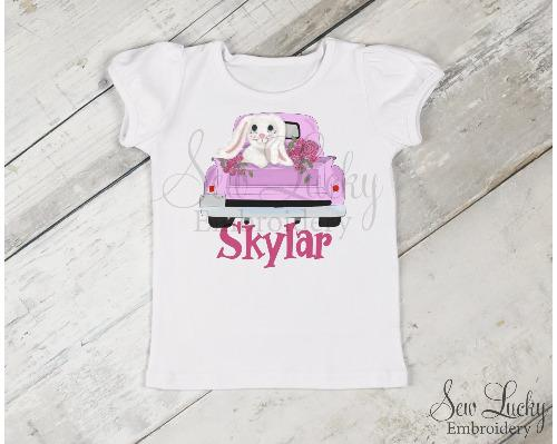 Girls Easter Bunny Truck Personalized Shirt - Sew Lucky Embroidery