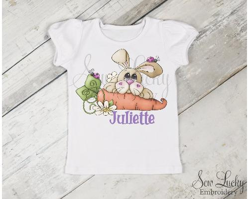 Girls Easter Bunny with Carrot Personalized Shirt - Sew Lucky Embroidery