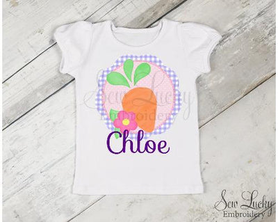 Girls Easter Carrot Personalized Shirt