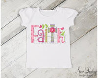 Girls Faith with Easter Cross Shirt - Sew Lucky Embroidery