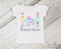 Girls Fishing Trio Personalized Shirt - Sew Lucky Embroidery