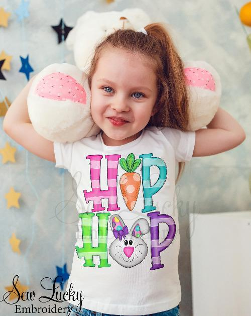 Girls Hip Hop Easter Bunny Shirt - Sew Lucky Embroidery
