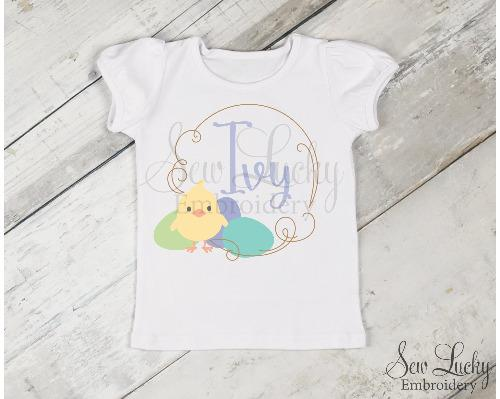Girls Personalized Easter Chick Shirt - Sew Lucky Embroidery
