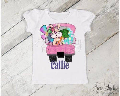 Girls Pink Easter Truck with Bunny Personalized Shirt