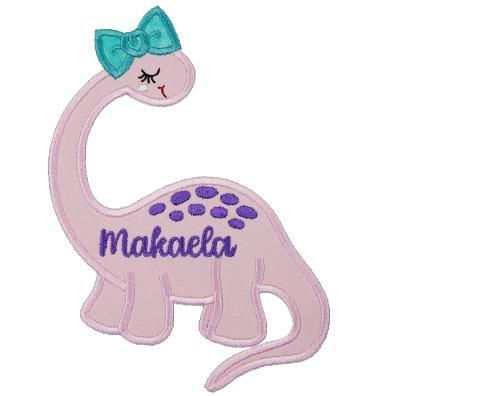 Girls Pink Personalized Dinosaur Patch - Sew Lucky Embroidery