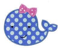 Girly Whale Patch - Sew Lucky Embroidery