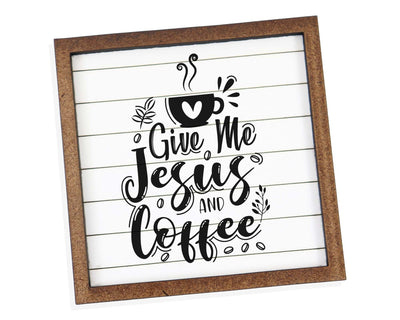 Give Me Jesus and Coffee Tier Tray Sign