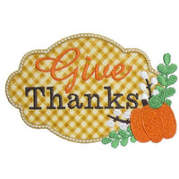Give Thanks Fall Patch - Sew Lucky Embroidery