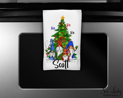 Gnome Christmas Tree Personalized Waffle Weave Microfiber Kitchen Towel
