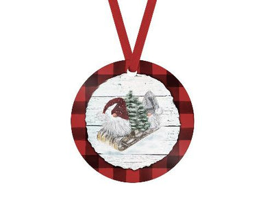 Gnome Red Buffalo Plaid Trim Christmas Ornament