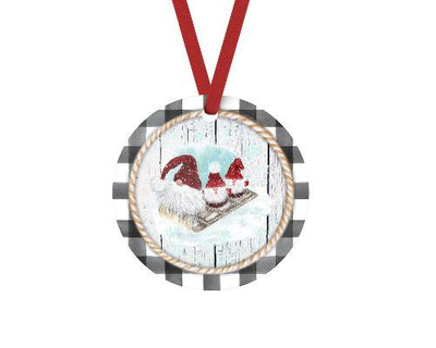 Gnome Trio Gray Buffalo Plaid Trim Christmas Ornament