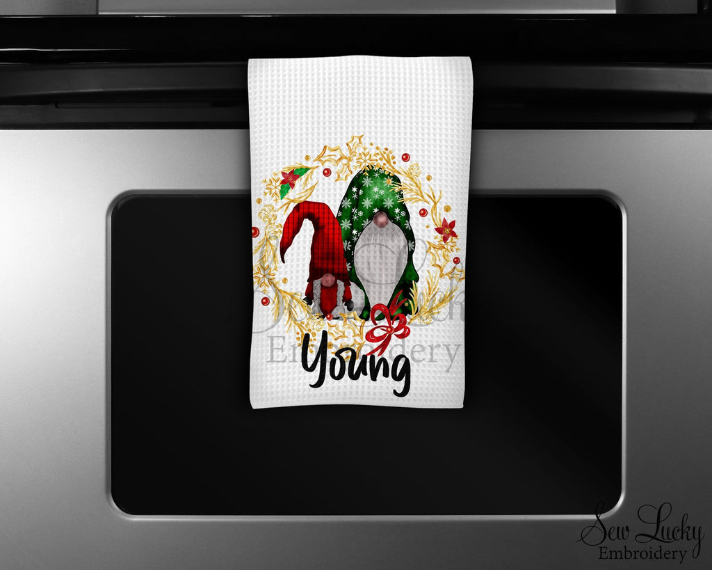 Gnome Wreath Personalized Kitchen Towel - Waffle Weave Towel - Microfiber Towel - Kitchen Decor - House Warming Gift - Sew Lucky Embroidery