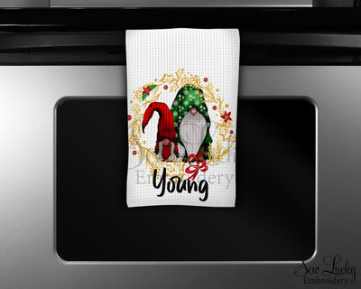 Gnome Wreath Personalized Waffle Weave Microfiber Kitchen Towel