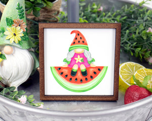 Watermelon Gnome Girl Sign