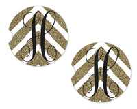 Gold and White Arrow Personalized Sandstone Car Coasters - Sew Lucky Embroidery