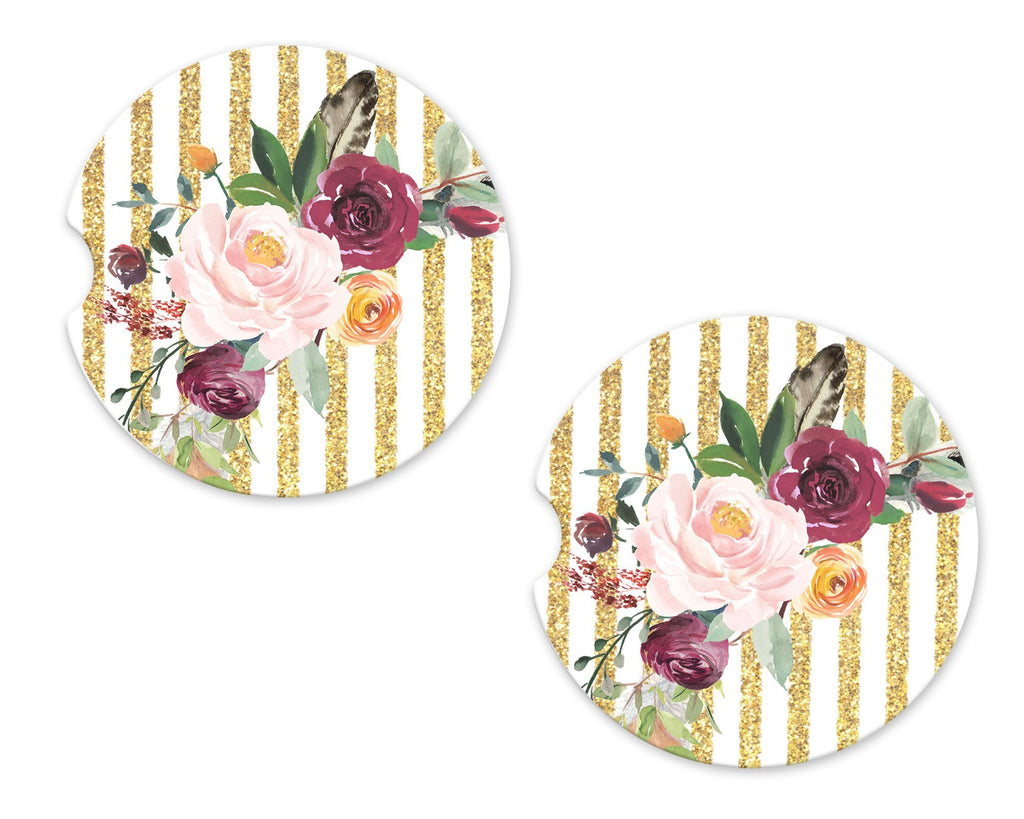 Gold Stripes and Flowers Sandstone Car Coasters - Sew Lucky Embroidery