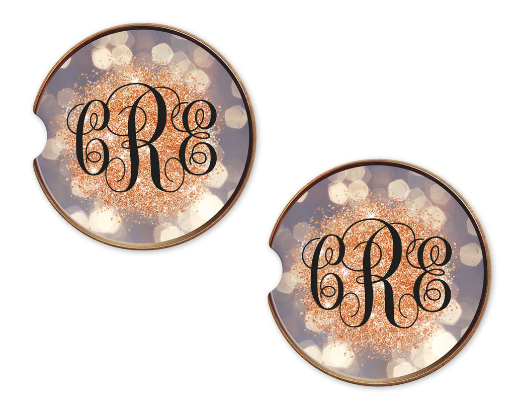 Golden Glitter Bokeh Sandstone Car Coasters - Sew Lucky Embroidery