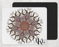 Gray and Red Mandala Custom Monogram Mouse Pad - Sew Lucky Embroidery