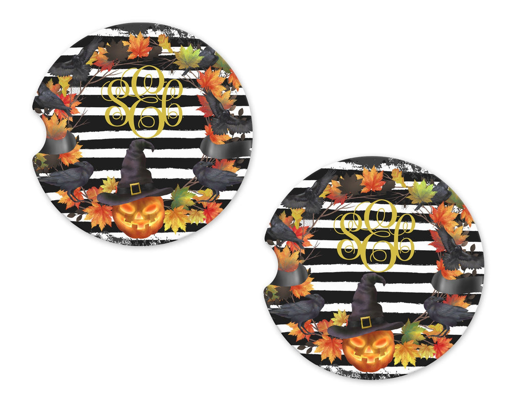 Halloween Pumpkin Witch Personalized Sandstone Car Coasters - Sew Lucky Embroidery