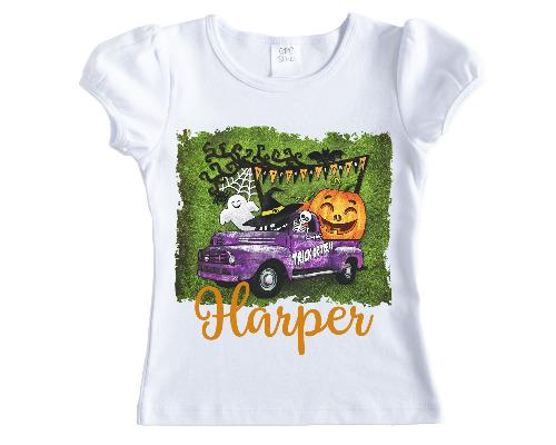 Halloween Trick or Treat Truck Personalized Shirt - Sew Lucky Embroidery