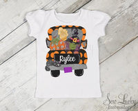Halloween Witch Truck Personalized Girls Shirt - Sew Lucky Embroidery
