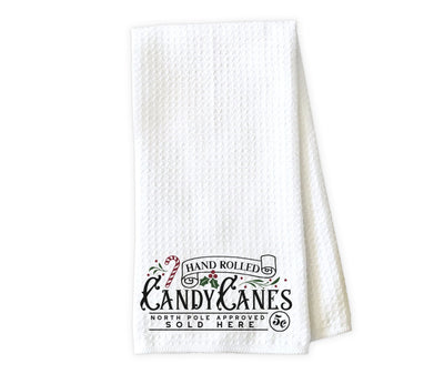 Hand Rolled Candy Canes Waffle Weave Microfiber Kitchen Towel