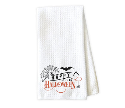 Happy Halloween with Bats Waffle Weave Microfiber Kitchen Towel