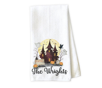 Haunted House Personalized Waffle Weave Microfiber Kitchen Towel