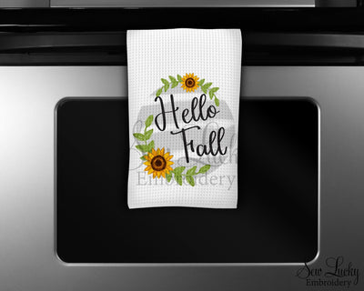 Hello Fall Floral Wreath Waffle Weave Microfiber Kitchen Towel