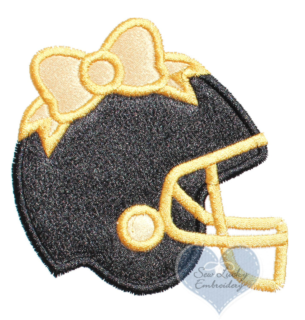 Football Helmet with Gold Bow Patch