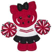 Hog Cheerleader Football Patch - Sew Lucky Embroidery