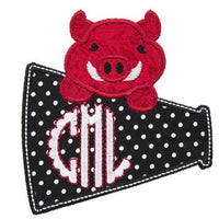 Hog Football Megaphone Monogram Patch - Sew Lucky Embroidery