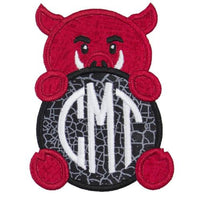 Hog Football Monogram Patch - Sew Lucky Embroidery