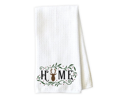 Home with Deer Christmas Waffle Weave Microfiber Kitchen Towel