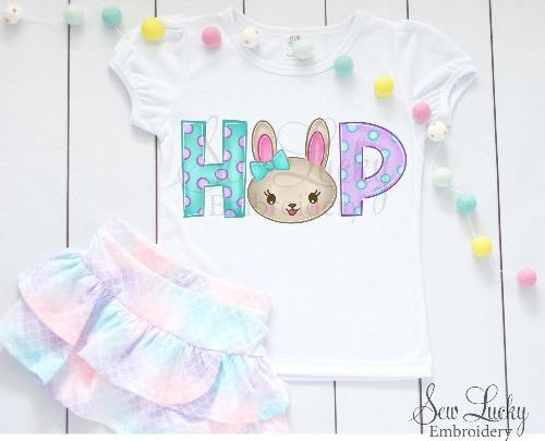 Hop Girl Easter Bunny Shirt - Sew Lucky Embroidery