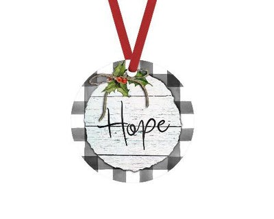 Hope Gray Buffalo Plaid Christmas Ornament