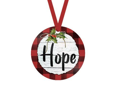 Hope Red Buffalo Plaid Christmas Ornament - Sew Lucky Embroidery