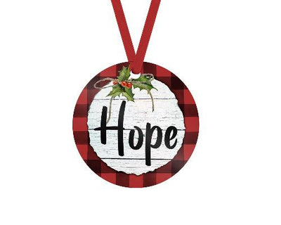 Hope Red Buffalo Plaid Christmas Ornament