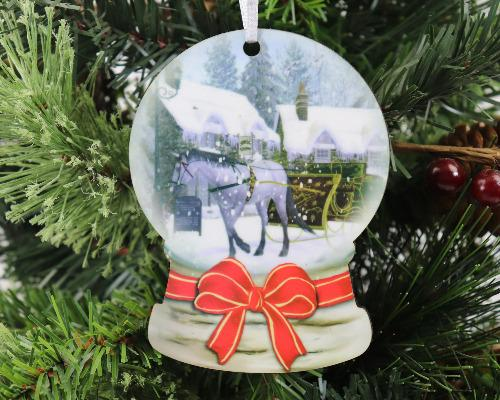Horse Carriage Snow Globe Christmas Ornament - Sew Lucky Embroidery