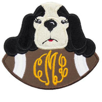 Hound Dog Football Girl monogram Patch - Sew Lucky Embroidery