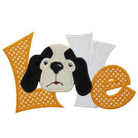 Hound Dog Football Love Patch - Sew Lucky Embroidery