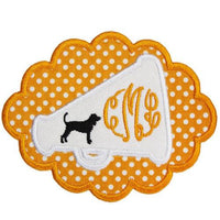 Hound Dog Football Megaphone Monogram Patch - Sew Lucky Embroidery