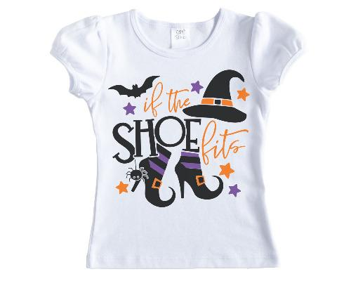 If the Shoe Fits Girls Halloween Shirt - Sew Lucky Embroidery