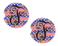 Leopard and Patriotic Personalized Sandstone Car Coasters - Sew Lucky Embroidery