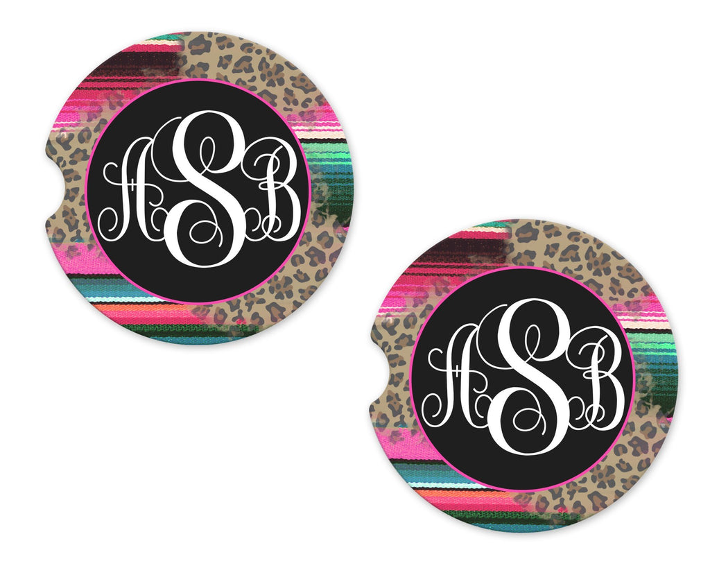 Leopard and serape Personalized Sandstone Car Coasters - Sew Lucky Embroidery