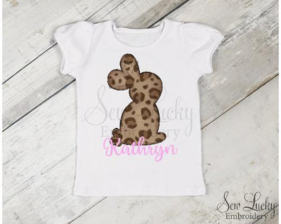 Leopard Easter Bunny Girls Personalized Shirt