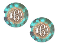 Leopard Glitter Marquee Sandstone Car Coasters - Sew Lucky Embroidery