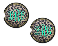 Leopard with Gold and Black Trim Personalized Sandstone Car Coasters - Sew Lucky Embroidery